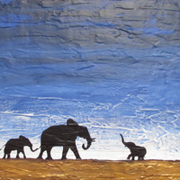 """ARTFINDER: original abstract landscape african art """"elephants , family reunion"""" africa animal painting art canvas - 30 x 40 """" by Stuart Wright - A good sized original abstract canvas painting ..."""