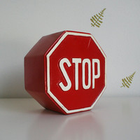 Midsummer Sale 20% Off vtg 60's // stop sign coin bank // lego japan // ceramic // red & white // pottery