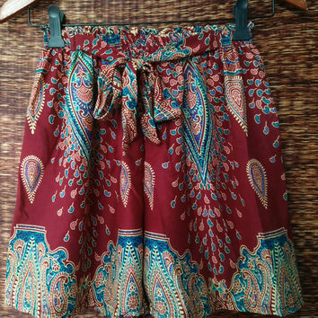 Red High waisted Shorts Paisley Boho print Cotton Gypsy Bohemian fabric For Beach Summer Women Fashion Beachwear Clothing Gift for her