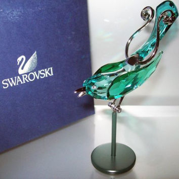 Swarovski Crystal Figurine BOALI Antique Green Object Bird #275575
