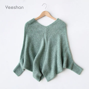 Yeeshan Wool V-Neck Sweater Women Mohair Grey Sweaters Batwing Sleeve Pullovers and Sweaters Knitted Autumn Winter Sweater