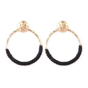 Thread Wrapped Hoop Post Earrings