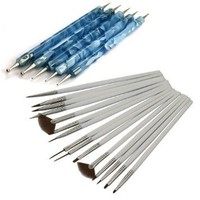 Leegoal 15Pcs Nail Art Design Painting Drawing Brushes White + 5 X 2 Way Marbleizing Dotting Pen Tools Set