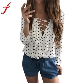 Spring Autumn Cross Front Blouse Women Ladies Long Sleeve Loose Blouse Polka Dot V Neck Chiffon Ruffle Blouse Shirt Tops
