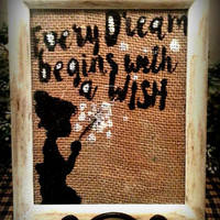 Burlap Handpainted 8x10 Frame, Wish Dandelion, Every Wish Begins With A Dream