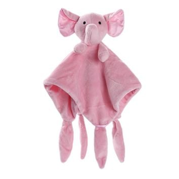 Newborn Soft Baby pink elephant Puppet Toy Gift Snuggle Baby Comforter Blanket