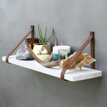 The White Fawn Shelf - Wood Hanging Shelves - Leather Strap wood shelving - Rustic Minimalist Wall Bookshelf - Modern Floating mantle
