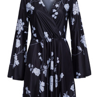 Black Floral Wrap Front Belle Sleeve Mini Dress