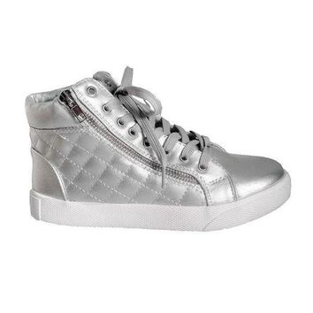 CREYONIG Steve Madden Decaf - Silver High-Top Quilted Lace-Up Sneaker