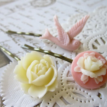 Cameo Hair Pins Pink and Ivory Rose and Bird by DubiousDesign
