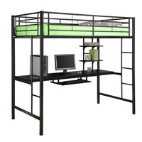 Walker Edison Twin Metal Loft Bed with Workstation, Back