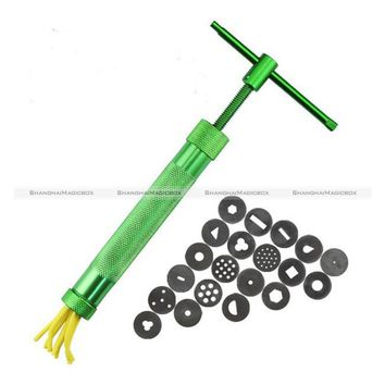 1 Set Green Clay Extruders Sculpture Gun Clay Sugar Paste Extruder Fondant Cake Sculpture Polymer Gun Tool 48817124 SMB