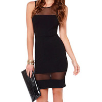 Sleeveless Bodycon Mini Dress with Mesh Accent