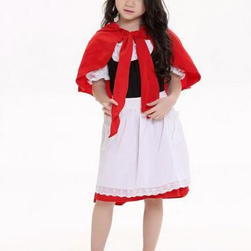 halloween gift cute suit105-150cm kid child Little Red Riding Hood cosplay carnival suit party costume dress+cloak girl uniform