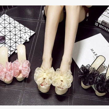 Summer Princess Butterfly Floral Transparent Wedge High Heel Slippers [6050392449]