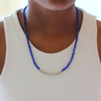 Blue Seed Bead Necklace.  Blue Beaded Necklace.  Minimalist Necklace.  Blue and Silver Necklace.  Women's Necklace.  Gifts for her