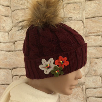 Fur Pompom Beanie, Slouchy Knit Beanie, Burgundy Beanie, Embroidery Hat, Fluffy Pompom Hat, Faux Fur Women Hat, Chunky Winter Hat