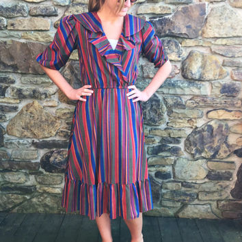 Vintage 1970s B.D. II Striped Prairie Dress with Ruffled Collar / Women's Small / Great for Spring, Summer / Great for Work, Date Night