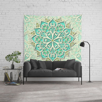 White cyan and yellow Beautiful Wedding Mandala Wall Tapestry by maria_so