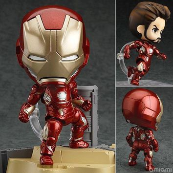 Avengers Anime Marvel Nendoroid 545 Marvel IronMan Super Hero Iron Man 10cm Action Figure Toys
