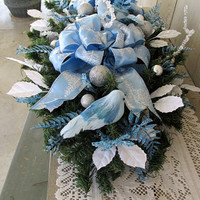 Christmas Centerpiece Tabletop Powder Blue White Silver