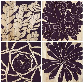 Set of 4 Succulent Panels design by Selamat – BURKE DECOR