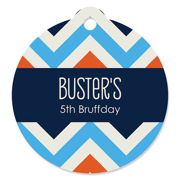 Chevron Boy Bruffday - Personalized Dog Birthday Party Tags - 20 ct