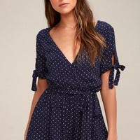 Cute Stuff White and Navy Blue Polka Dot Tie-Sleeve Romper