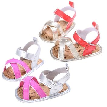 Girls Sandals Lighted Soft-Soled Princess Shoes Toddler Girls Soft Sole PU Leather San