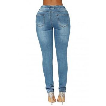 #Women's Medium Blue Wash/Drawstring Skinny Jeans