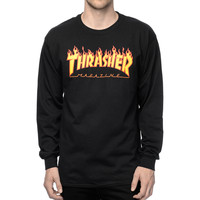 Thrasher Magazine Flame Logo Longsleeve T-Shirt In Black