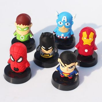 Batman Dark Knight gift Christmas 6pcs/set Cute SuperHero The Avengers Spider man Iron Man Batman Captain America Green Lantern PVC Figure Toys AT_71_6
