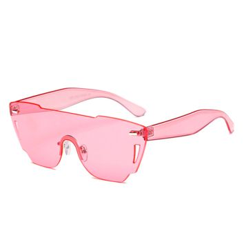 Candy Color Rimless Shield Sunglasses