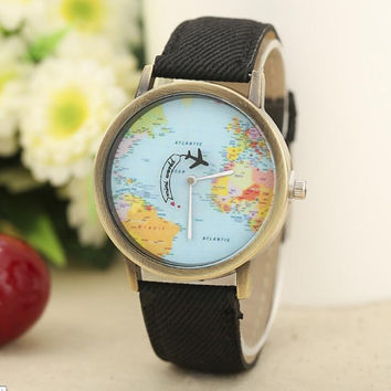 2016 high quality Fashion World Map Watch Relogio Feminino Women Watches men Quartz Watches unisex Reloj Mujer