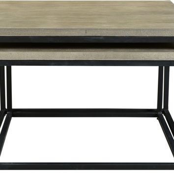 Drey Square Nesting Coffee Tables Set Of 2 Industrial Grey