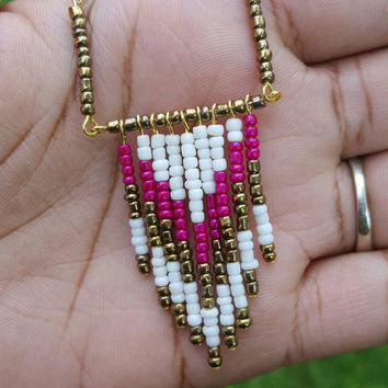 Fushia Tribal style beaded chevron necklace