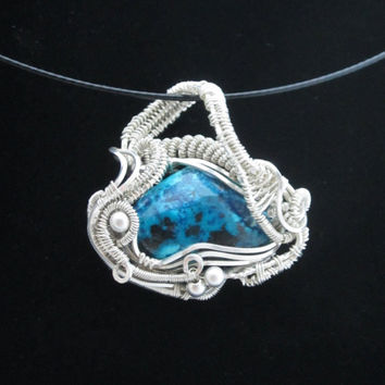 OOAK Wire Wrapped Pendant with Chrysocolla in Sterling Silver, Small