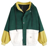 Corduroy Patchwork Windbreaker