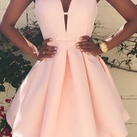 Plunging Neck Sleeveless A-Line Dress