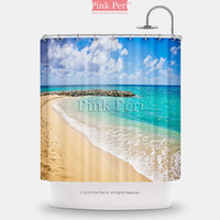 Golden Beach Blue Sea Shower Curtain Free shipping Home & Living 059