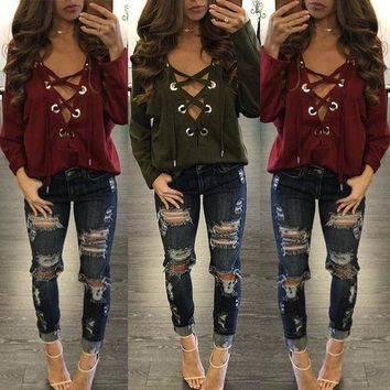 Hee Grand Brandage V Neck Tops Tee 2017 Women Tie Lace Up Tops Sexy Hollow Out Casual T Shirt Long Sleeve Jumper