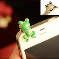 Eastern Delights Green Frog 3.5mm Anti Dust Plug for iPhone Samsung, Cell Charms Dust Plug-earphone Jack Accessories