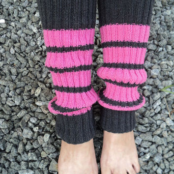 Leg Warmers Pink Knit Gaiters Gray Yoga Class Summer Walks Athletic Girl Gift For Yoga Summer Gaiters