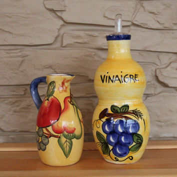 Beautiful set Pitcher and Vinegar Bottle, French Holland Ceramic, Pottery, Fruits, Kitchen Decor