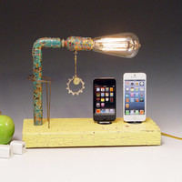 Double iPhone 3, 4, 5, dock AND table lamp. Reclaimed wood & copper pipe. Edison bulb. USB wall charger.  (437)