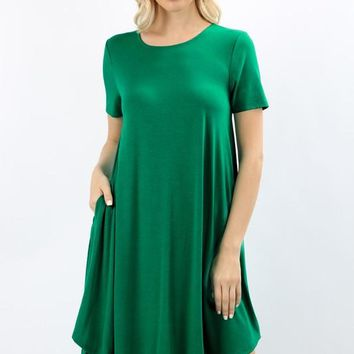 Short Sleeve A-Line Dress with Pockets
