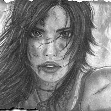 DIY frame Lara Croft Tomb raider art drawing girl face eyes lips hair eyes cloth silk art wall poster and prints