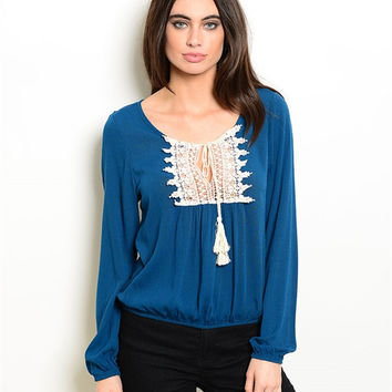 Teal Peasant Style Top with Tassel Bodice