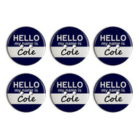 Cole Hello My Name Is Plastic Resin Button Set of 6