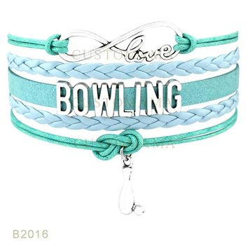 Family Friends party Board game (10 pcs/lot) Infinity Love Bowling Mom Bowlings Charms Bracelets Jewelry For Women Men Black Purple Suede Leather Wrap Bracelet AT_41_3